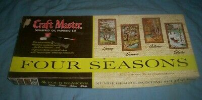 Vintage Craft Master Numbered Oil Paint Set Four Seasons Paint by Number In Box