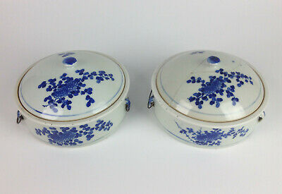 Pair of Unusual Antique 18th Century Chinese Blue & White Tureens- Lidded Bowls