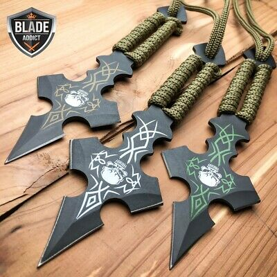 "3 Pc 6.5"" Ninja Tactical Skull Combat Naruto Kunai Throwing Knife Set Hunting -U"