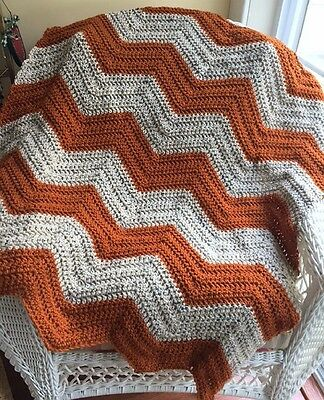 CROCHET handmade baby blanket afghan wrap chevron ripple VANNA yarn autumn rust