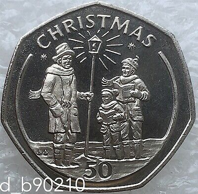 1991 Fifty Pence 50p Gibraltar Christmas Coin Carol Singers AA Large Coin
