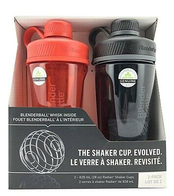 Blender Bottle Radian Shaker Mixer Cup Red Black 28oz 828ml Two 2 Pack