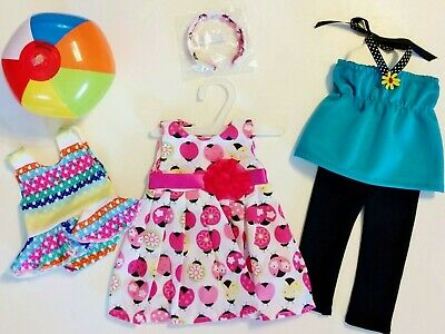 """Doll Clothes LOT Fits 18"""" American Girl 3 Outfits Dress Top Swimsuit NEW -A41"""