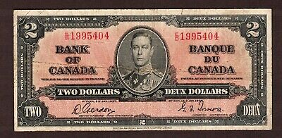 Bank Of Canada 1937 $2.00 Gordon Towers Banknote Serial Number E/B1995404 Vg
