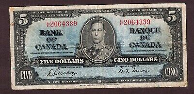 Bank Of Canada 1937 $5.00 Coyne Towers Banknote Serial Number C/C2064339 Vg