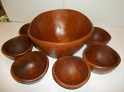 VINTAGE set 7 Hand Made TEAK SALAD BOWL  SET Beautiful Woodgrain