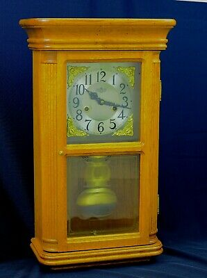Vintage Chinese Striking Wall Clock With Heavy Solid Wood Case
