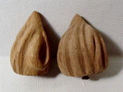 2 Antique Carved WALNUT FINIALS