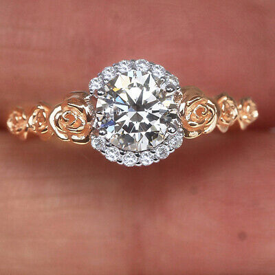1.17Ct 100% Natural Diamond 14K Gold Solitaire Engagement Wedding Ring RWG144-7