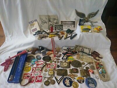 Junk Drawer MENS Lot coins jewelry, military, belt buckles, knives, toys MORE