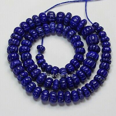 319CT Afghani Lapis Lazuli Carved Melon Fluted Beads 17.3 inch Strand