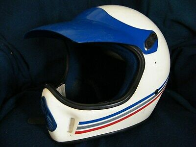 Vintage BELL MOTO 4 MOTOCROSS HELMET white POLARIS adult L with sun visor