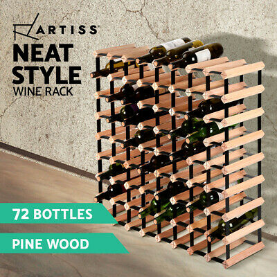Artiss 72 Bottle Timber Wine Rack Wooden Storage Wall Racks Holders Cellar