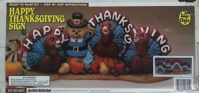 RARE New Old Stock Sealed Wee Crafts HAPPY THANKSGIVING SIGN Kit Gypsum