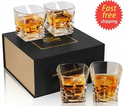 Whiskey Glasses Set of 4 - Square Rocks Glass - Premium Crystal Tasting Tumblers