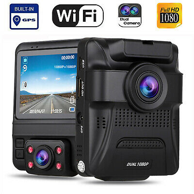 Dual Lens Car Dash Cam HD 1080P Built In WiFi & GPS Parking Mode W/ Night Vision