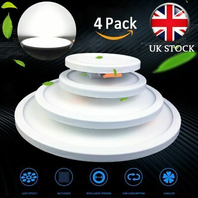 4 x 6W-20W LED Recessed Light Round Flat Panel Ceiling Downlight Ultra Slim Cool