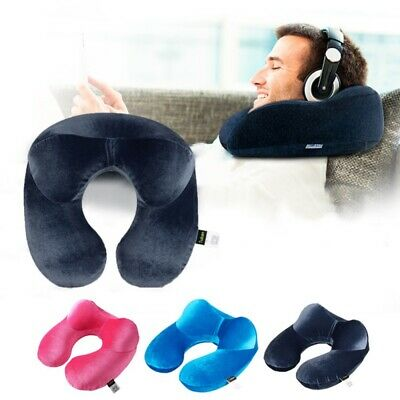 US Inflatable Flight U Neck Pillow Travel Hiking Rest Head Support Air Cushion