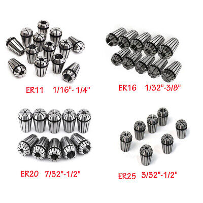 "1PC Spring Collet Set ER11 ER16 ER20 ER25 1/16"" 1/4"" 1/32"" 3/8"" 1/2"" 3/32"" 7/32"""