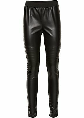 17e94b01a73a4 DAMEN LANGE LEGGINGS mit hohem Bund - Lederimitat - Orange matt Gr ...
