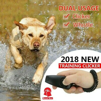 2 in 1 Black Dog Pet Puppy Cat Training Clicker &Whistle Click Trainer Obedience