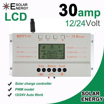 30A Solar Laderegler Solar Panel Battery Charger Regulator 12V/24V Auto With LCD