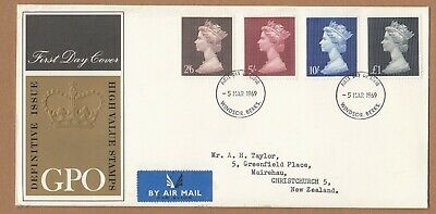 1969 GB FDC high values - Postally used to NZ and Postmarked Windsor