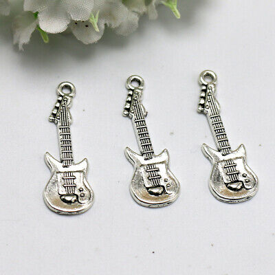 TC10 10 Tibetan Silver Electric Guitar Music Instrument Charms Pendants 33mm