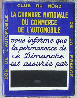 French automobile car club garage station sign plaque notice Sunday opening EAS