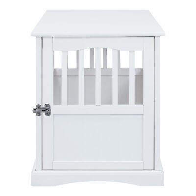 Casual Home Solid Wood Lockable Gate Door Pet Crate and End Side Table, White