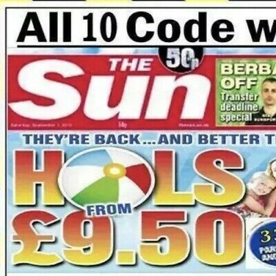 The Sun Holidays Booking Codes £9.50 ALL 10 Token Code Words Cheap 🌞🌞🌞🌞🌞