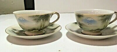 2 VTG Kutani China Japanese Hand Painted Gold Trim Mountain Scene Cups & Saucers