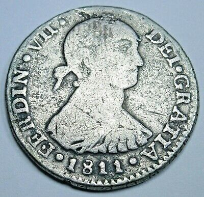 1811 JP Key Date Spanish Silver 1 Reales Piece of 8 Real Colonial Treasure Coin