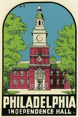 Vintage Philadelphia Pennsylvania Independence Hall State Souvenir Travel Decal