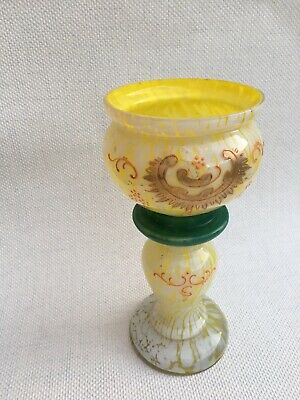 Victorian Antique Moser / Welz Bohemian Spatter Glass Vase in Yellow / White