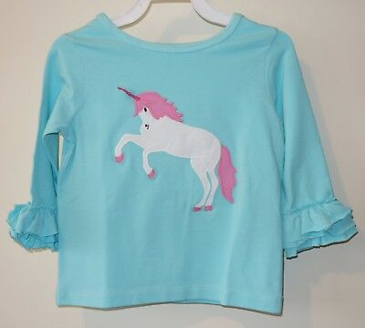NIB Kelly's Kids Carlie Aqua Splash Appliqued Unicorn Top Size 6 Month