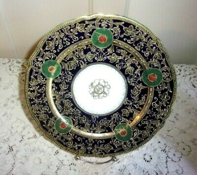 1920's Hand Painted Nippon Gold Encrusted Star Flower Cobalt 10 Inch Plate