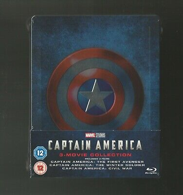 Captain America : 3 Movie Collection - Uk Exclusive Blu Ray Steelbook New+Sealed