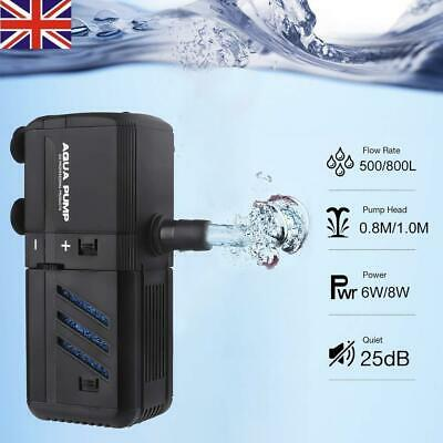 UK Submersible Aquarium Internal Pump Filter Filtration Fish Tank