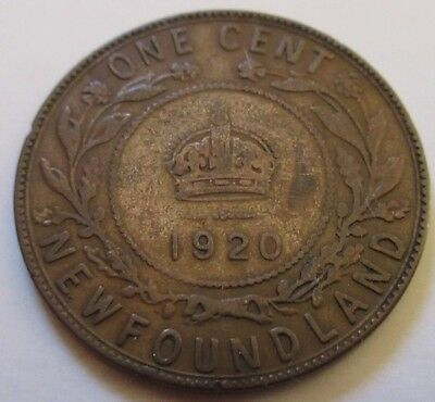 1920 Canada Newfoundland Large Cent Coin. BETTER GRADE (RJ189)