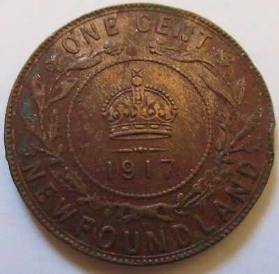 1917 Canada Newfoundland Large Cent Coin. BETTER GRADE RJ187