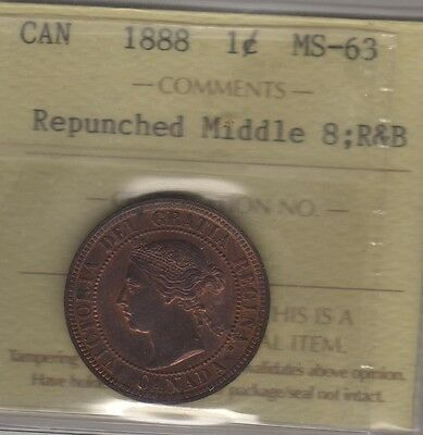 1888 Canada Large Cent Coin. ICCS MS-63 Repunched Middle 8