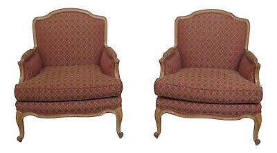 31015EC: Pair French Louis XV Style Upholstered Bergere Chairs