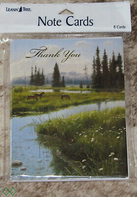 """LEANIN TREE """"Thank You"""" Horses in Mountain Meadow~#35256~8 Notecards~Blank~"""