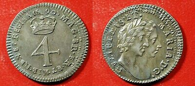 1690 UK William & Mary 4 pence Silver - Solid XF/AU   stk#wb281
