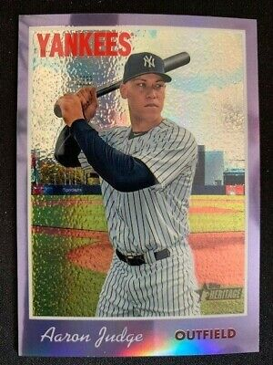 2019 Topps Heritage Yankees Aaron Judge Purple Chrome Hot Box Card