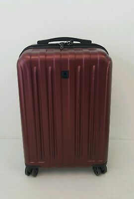 "Delsey 20"" Carbonite Carry-On Spinner Luggage Suitcase Dark Red E-14.12-MG5"