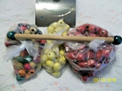 Lot of Vntg. Round Macrame Wooden Craft Beads~Great~Colors & Sizes ~ NOS~