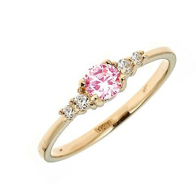 Children's 14k Solid Yellow Gold Pink White Cubic Zirconia Baby Ring Kids Size 3