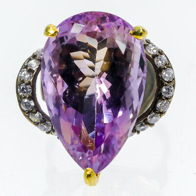 Recommend 28ct+ Natural Ametrine 925 Sterling Silver Ring Size 7.5/R34606